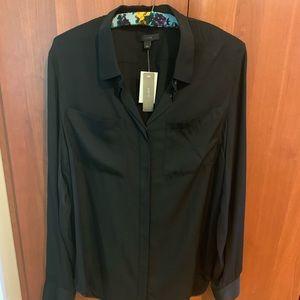 J.Crew Pocket Silk Blouse black hidden buttons NWT